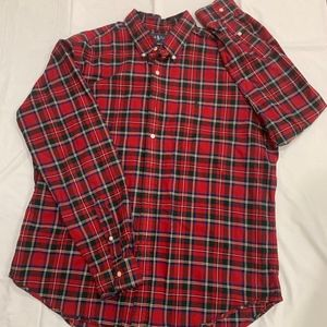 Polo button up red plaid shirt
